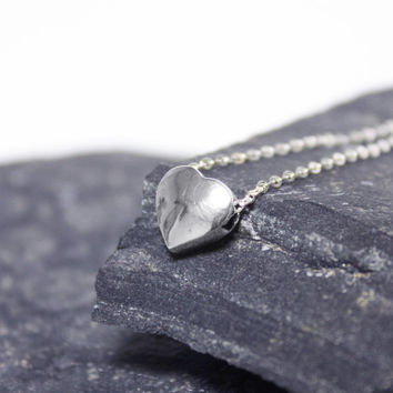 Silver Heart Necklace/ Silver Handmade Heart Necklace/ Sterling Silver Heart Necklace/ Pendant Necklace/ Silver Simple Necklace