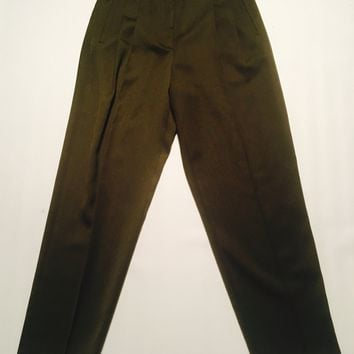 Olive Pleated Pants