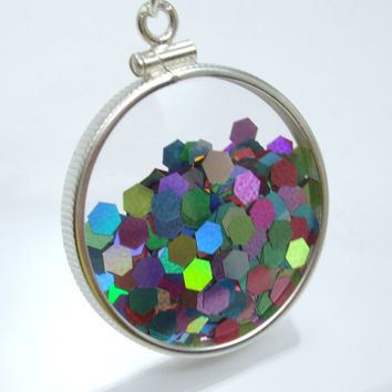 Shake Locket Glass Double Sided Sterling Silver Filled Firework Glitter Holographic Necklace - Shake It Collection