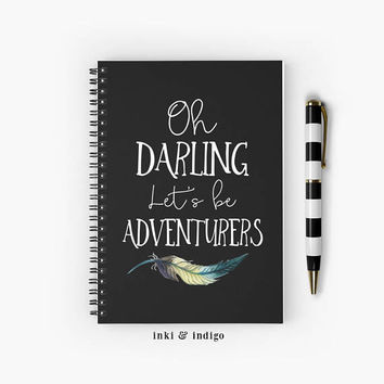 Oh Darling Let's Be Adventurers - Spiral Notebook With Lined Paper, A5 Writing Journal, Diary, Travel Journal