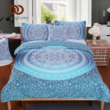 BeddingOutlet Luxury Boho Bedding Set Crystal Arrays Duvet Quilt Cover 5 Sizes Blue Printed Bedspread 2Pcs or 3Pcs New Arrivals