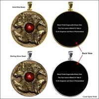 Wolf and Raven Coin Bronze Casting In Your Choice of Sterling Silver or Gold Filled Coin Bezel