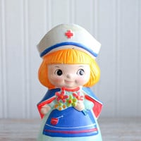 Vintage Big Eye Nurse Bank, 1960s Mod Girls Bank, Kitsch Figurine for Nurses, Nursing Student Gift, Little Girls Bedroom, Nurse Week