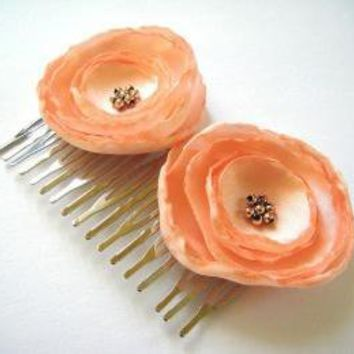 peach salmon rose blossom flower hair comb by ayawedding on Etsy