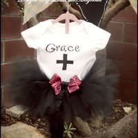 "Black Tutu and Onsie or Tshirt set for Newborn Girls, Baby Girls, Toddler Girls and Little Girls ""Grace"" Clothing"