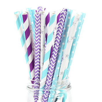 25 Paper Straws - Disney's Frozen Paper Straw Set - Theme Party Birthday Favor Cake Pop Sticks Purple Disney Princess Anna Themed Elsa