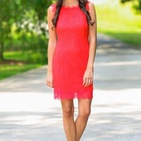 From The Heart Red Lace Dress