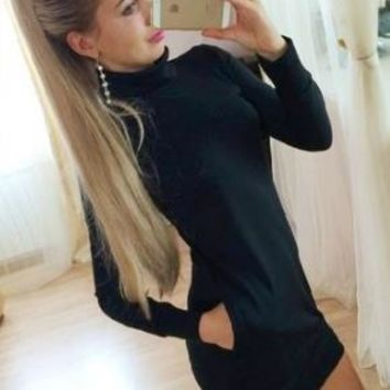 Turtleneck Women Cotton Dress Turtle Neck Causal Mini Black Dress 2015 Winter Dress Stretch Bodycon Dresses With Long Sleeves