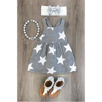 Black & White Kids Stripe Stars Halter Dress