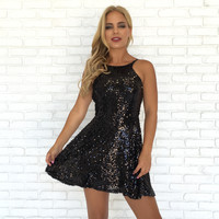 Never Ending Sequin Little Black Dress