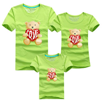 1 pc Toy Bear Love 95% Cotton Shirt Yellow Colors Family Set T Shirts Matching Family Clothing Men Women Kids Large T-Shirts