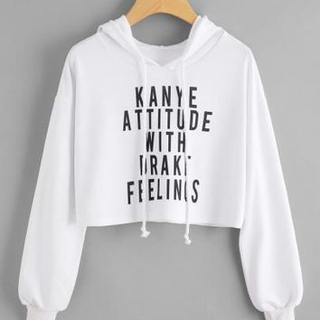 Kanye attitude with drake feeling pullover crop hoodie sweater