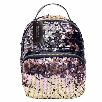 MOJOYCE New Arrival Women All-match Bag PU Leather Sequins Backpack Girls Small Travel Princess Bling Backpacks