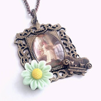 Victorian Lady Pendant Necklace Light Green Flower 21 inches