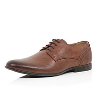 River Island MensBrown burnished round formal shoes