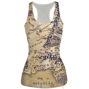 Womens Retro Map Slim Tank Top Casual Sports Vest for Summer Free Shipping