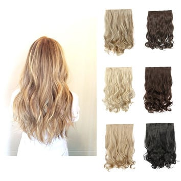24'' 60cm Curly Wavy 5 Clip In Hair Extension Natural Blonde Heat Resistant Hairpiece Apply Hair Synthetic Hair Extensions