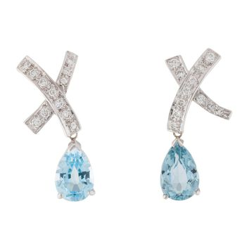 Beautiful 14K Gold White 0.68 ct Diamond X and 13 carat Blue Topaz Pear Drop Dangle Earrings