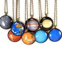 Solar System Planet Necklace Science Astronomy Glass Tile Pendants