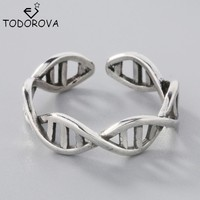Todorova Infinity Duplex DNA Unique 925 Sterling Silver Ring Science Biology DNA Chemistry Molecule Jewelry Adjustable Free Size