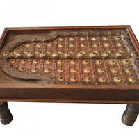 Indian Style Rustic Solid Wood Coffee Table Brass Indian Furniture