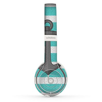 The Trendy Grunge Green Striped With Anchor Skin Set for the Beats by Dre Solo 2 Wireless Headphones