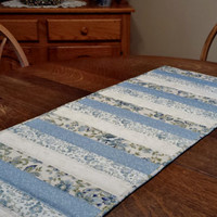 Quilted Table Runner, 16 x 42, quilted patchwork table runner, table runner, blue, aqua, green, cream, white