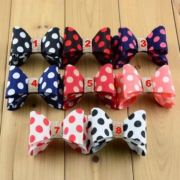 ESB78W 3.2' Newborn Luxe Dot Hair Bows 8colors Handmade Hard Satin Bowknot with rhinestone button For girls Hair Accessories