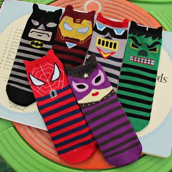 New Superheros Captain America Ironman Spiderman Cute Cartoon Casual ankle cotton socks slippers harajuku EUR39-44