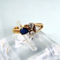 Elegant Retro 14K solid gold sapphire and diamond ring, stamped gold ring, fine gold jewelry