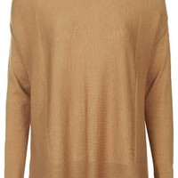 Longline Fine Ribbed Sweater - Camel
