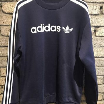 adidas originals crew neck linear sweat in black