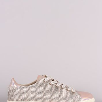 Qupid Glitter Metallic Pinstripe Lace-Up Sneaker