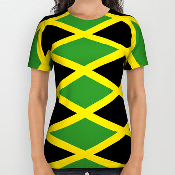 Flag of Jamaica 3-Jamaican,Bob Marley,Reggae,rastafari,cannabis,ganja,america,south america,ragga All Over Print Shirt by oldking