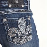 Miss Me Bootcut Jeans with Fleur de Lis Pockets MP7063B:
