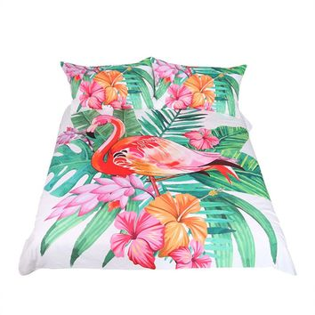 Flamingo Bedding Set Tropical Plant Quilt Cover  Home Bed Set Flower Print Pink and Green Bedclothes 3pcs