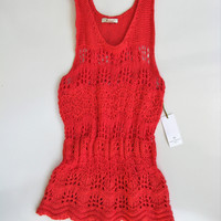 Saint Tropez West Open Knit Tunic Tank S NWT