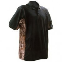 BUCK HORN RIVER Large Pique Polo Shirt with Camo Trim Black BRKS-52159BL