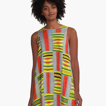 'KENTE PATTERN 5' A-Line Dress by planetterra