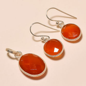 925 Sterling Silver Carnelian Pendant Set Handmade Designer Pendant Set Gemstone Set Silver Pendant With Earrings