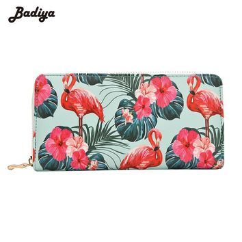 Badiya Women's Flamingo Floral Print Fashion Long Purse Large Capacity Clutch Phone Bag PU Leather Ladies Card Holder Wallets
