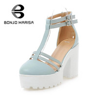 Brand Design Women Sandals 2015 Fashion Square High Heels Open Toe Summer Shoes Gladiator Ankle T straps Thick Platform Sandals