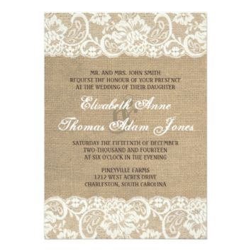 Lace Look Rustic WARM Burlap Wedding Invitation 5
