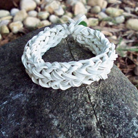 White Bangle Bracelet Made w/ Rubber Bands - Unique Stretch Band Rubber Bracelet