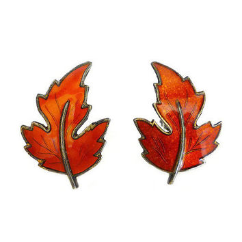 Scandinavian Sterling, Silver Earrings, Maple Leaf, Autumn Leaves, Guilloche Enamel, Orange, Gold Plated, Vintage Jewelry