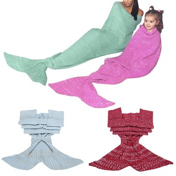 4 Colors Children/Adult Mermaid Tail Sofa Blanket Super Soft Warm Hand Crocheted Knitting Wool For Family Home Party Blankets