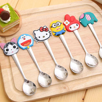 Cute cartoon hello kitty stainless steel spoon stainless steel spoon, Soft Silicone Baby Spoon / Feeding Spoon Baby Flatware