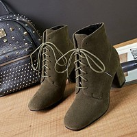 Square Toe Lace Up Middle Chunky Heel Short Martin Boots