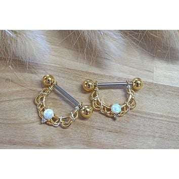 White Opal Rose Gold Nipple Shield Barbell Jewelry Barbell