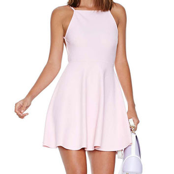 Pink Backless Hip Pleated Mini Dress